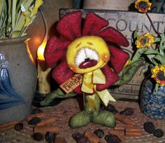 "Primitive Flower 6"" Raggedy Ann Plant Ornie Doll Vtg Patti's Ratties Rabbit Bear"