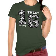 Sweet Sixteeen 16 Birthday Zebra Custom Name V80 Tee Shirts