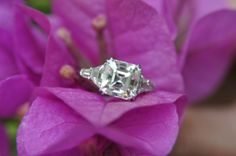 Five stone Leon Mege with a 3ct asscher, color L, vs2. side stones are K color. Oh Erica, what a ring!