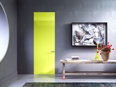 Linvisibile INFINITO Hinged door, Private house. Green methacrylate version