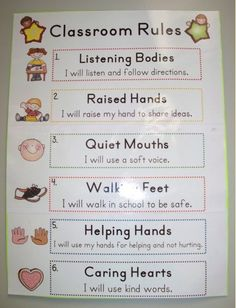 Classroom Rules. I like this because it has short phrases that should be easy for the kids to remember.