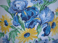 VINTAGE TABLECLOTH PILLOW SHAM IRIS DAISY PRETTY BLUES