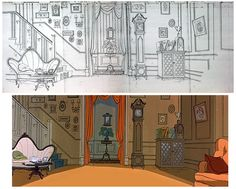 101 Dalmatians, background art ★ || Art of Walt Disney Animation Studios © - Website | (www.disneyanimation.com) • Please support the artists and studios featured here by buying their works from their official online store (www.disneystore.com) • Find more artists at www.facebook.com/CharacterDesignReferences and www.pinterest.com/characterdesigh || ★