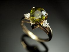 Green Tourmaline Diamond Ring Vintage by BelmontandBellamy on Etsy, £175.00