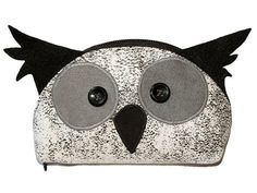OOAK Gift for Owl Lover Zipper Purse Owl Face Handmade by ifONA
