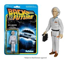 "Go back in time and reminisce about the good ol' 80s with this Back to the Future Emmett ""Doc"" Brown ReAction Retro Action Figure! Featuring the likeness of Christopher Lloyd in a simplified retro Kenner format, this Doc Brown Action Figure is a must-have for all Back to the Future fans! This 3 3/4-inch tall ReAction Doc Brown Action Figure has 5 points of articulation, comes with a DeLorean remote-control unit accessory!."