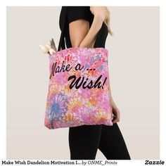 Shop Make Wish Dandelion Motivation Inspire Pretty Tote Bag created by ONME_Prints. Shopping Bag Design, Shopping Bags, Personalized Buttons, Dandelion Flower, Slogan Making, How To Run Faster, White Elephant Gifts, Reusable Tote Bags, Inspire