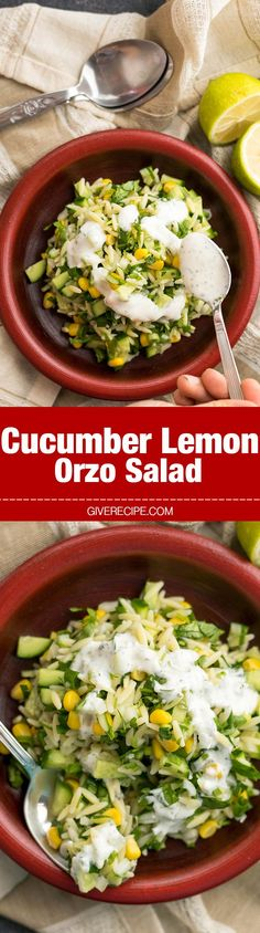 Cucumber Lemon Orzo Salad makes a wonderful light lunch or a great side dish at barbecue parties, potluck parties or picnics. Make it ahead and serve when needed.- http://giverecipe.com