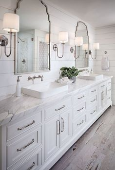 walls, lighting, sinks, floors