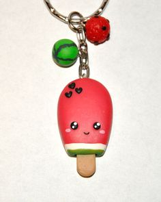 Watermelon Ice Cream Keychain with Heart Seeds  Popsicle