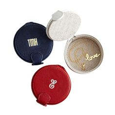 Mark and Graham, Leather Ring Box in White, Navy, or Red, $50 with free monogram   -   perfect for bedside, and could be used for purse, overnights, and travel