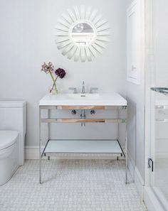 Neutral patterned bathroom floor