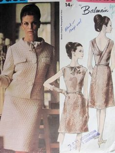 1960s BALMAIN EVENING COCKTAIL DRESS, JACKET PATTERN LOVELY SURPLICE BACK DRESS VOGUE PARIS ORIGINAL 1475