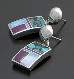 Supersmith Inc. - David Rosales Designs</a> - Shalako Inlay & Sterling Silver Rectangle Post Dangle Earrings #20309 Style ER082 $240.00