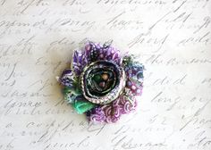 Purple Peacock Shabby Chiffon Newborn Headband Baby by CappyClips, $3.50