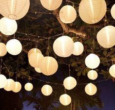 10 Stücke weiß Papierlaterne Laterne Deko Feier Lampions Papierlampen (10')