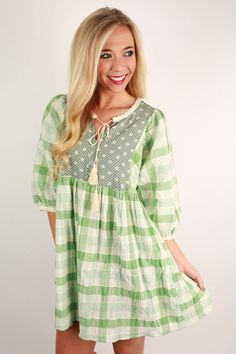 This precious little dress is so fun and unique! It's a great dress for transitioning to spring, so don't hesitate before you snag this one!