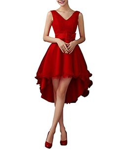 Queenmore Womens V Neck HiLow Lace Ruffles Prom Bridesmaid for Wedding US4 Red *** Check out this great product.