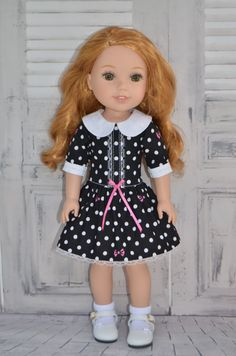 14.5 Inch Doll Clothes  -DRESS  fits Dolls Like Wellie Wishers .