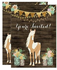 Pretty Horse/Flowers/Rustic Wood Birthday Set for a girl. Horse Theme Birthday Party, Cowgirl Birthday, Cowgirl Party, 1st Birthday Invitations, Birthday Ideas, 8th Birthday, Birthday Cards, Girl Horse Party, Husband Birthday