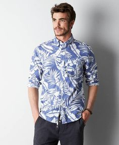 American Eagle Printed Button Down Shirt, Men's, Blue