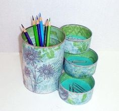 Desk Organizer made from recycled cans...this is actually cool..of course mine wouldn't be as pretty :/ by suzana