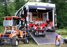 Keystone Raptor fifth wheel toy hauler exterior showing toys and toy hauling area