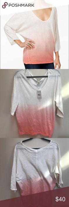 NWT Free People We The Free Gradient Top NWT, never worn. Size S. Color: Ivory. Pink gradient. Three- Quarter sleeve. Perfect spring shirt! Free People Tops Tees - Long Sleeve
