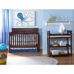 Graco Lauren Signature Two Piece Convertible Crib Set Crib and Changing Table - Rustic Cherry Wood Crib, Wood Nursery, Nursery Neutral, Nursery Room, Baby Room, Nursery Ideas, Room Ideas, Decor Ideas, Full Headboard
