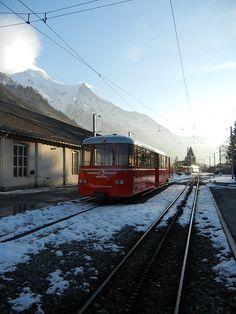 train up the mountain to Chamonix, France