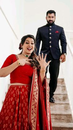 Couple Wedding Dress, Wedding Couples, Wedding Dresses, Red Lehenga, Lehenga Designs, Bridal Outfits, Wedding Bells, Wedding Planning, Sari