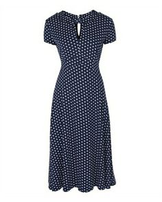 Lindy Bop 40s 50s Landgirl Polka Dot Tea Dress Navy Blue