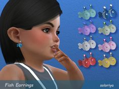 Cute little fish earrings for toddlers. 8 color variations, unisex, disabled for random. Found in TSR Category 'Sims 4 Female Earrings' Sims 4 Cc Skin, Sims Cc, Sims 4 Cc Kids Clothing, Sims 4 Children, Sims 4 Toddler, Girl Toddler, Play Sims, The Sims 4 Download, Sims 4 Update