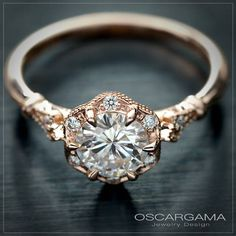 Diamond Engagement Ring 0.50ct, 0.45ct or 0.30ct Center stone with flower halo in white, yellow gold or Platinum GIA Certified diam. by OscargamaJewelry on Etsy https://www.etsy.com/listing/491303767/diamond-engagement-ring-050ct-045ct-or