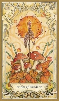 Mystic Faery Tarot by Linda Ravenscroft - Ace of Wands card - love the mushrooms and the faces in the corners Wicca, Spring Drawing, Arte Obscura, Tarot Card Meanings, Illustration, Tarot Readers, Major Arcana, Oracle Cards, Tarot Decks