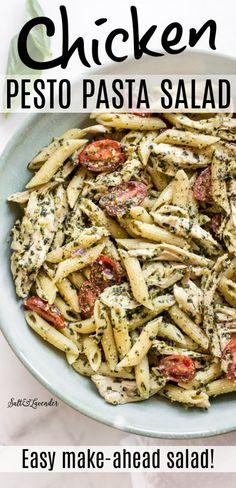 Chicken Pesto Pasta Salad, Pot Pasta, Pesto Pasta Salad Cold, Grilled Chicken Salad, Shrimp Pasta, Healthy Pasta Recipes, Healthy Pastas, Pesto Pasta Recipes, Cold Pasta Recipes