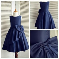 A-line Knee-length Flower Girl Dress - Taffeta Sleeveless – USD $ 41.99