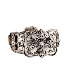 Cross Leather Buckle Bracelet {in brown}