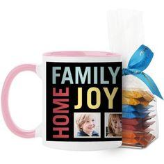 Family Home Joy Mug, Pink, with Ghirardelli Minis, 11 oz, Black
