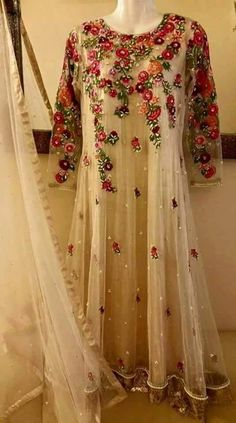 White anarkali with red embroidery | perfect for a bridesmaid or guest | pakistani weddings