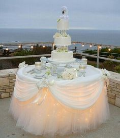 Lighting under dessert table is nice for the cake table and is especially glamorous for an outdoor evening wedding reception Wedding Table, Diy Wedding, Wedding Reception, Wedding Cakes, Dream Wedding, Wedding Day, Reception Food, Cake Tables For Weddings, Wedding Flowers