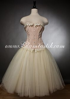 878ae61663c Custom Size Peach and ivory lace burlesque corset prom dress