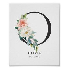 Letter O Monogram Peach Florals Nursery Poster. Elegant and feminine letter O monogram poster featuring watercolor flowers and greenery. Flower Letters, Monogram Letters, Baby Monogram, Monogram Fonts, Monogram Tattoo, Peach Nursery, Monogram Painting, O Tattoo, Watercolor Lettering