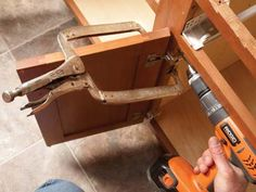 Clamps with a deep reach make it easy to install kitchen cabinets.