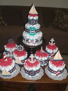 Nautical Beach Themed Diaper Cake by bearbottomdiapercakes on Etsy, $40.00