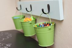 Use buckets/baskets/etc. for pencils, markers, glue, etc., if our other bins get filled with small craft supplies