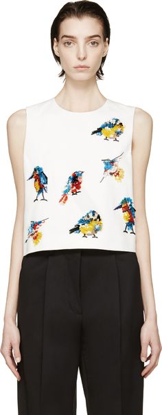 MSGM: White Sequinned Bird Tank Top | SSENSE