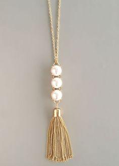 Triple Pearls Tassel Necklace
