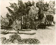 Pine Trees near the Wall of the Asylum by Vincent Van GoghDrawing, Pencil, black chalk  Saint-Rémy: October - 5-22, 1889