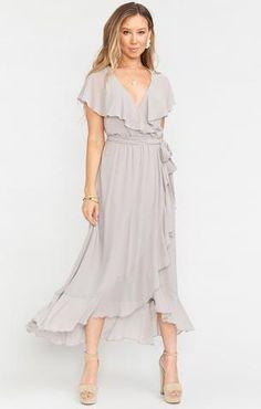 Ruffles Bridesmaid Dresses, Bridesmaids, Chiffon Dresses, Wedding Dresses, Grey Midi Dress, Dress Black, Mother Of Groom Dresses, Mob Dresses, Boho Dress